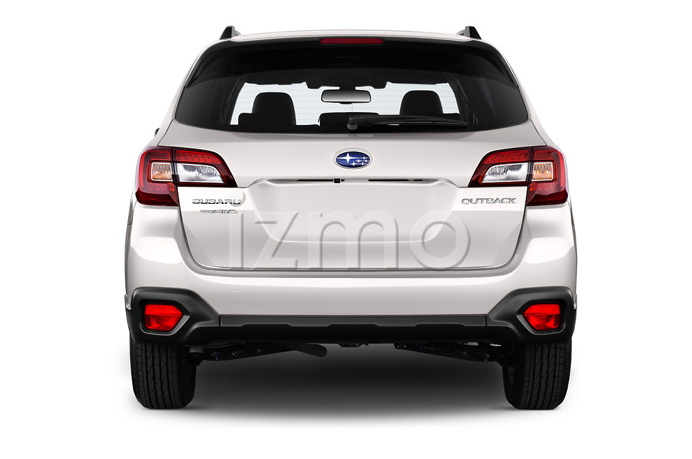 Straight rear view of a 2017 Subaru Outback Premium 5 Door Wagon stock images