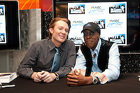Clay Aiken and Arsenio Hall at the NBC Experience Store promoting the Celebrity Apprentice Finale show in New York City May 18, 2012. © Kristen Driscoll / Mediapunch Inc.