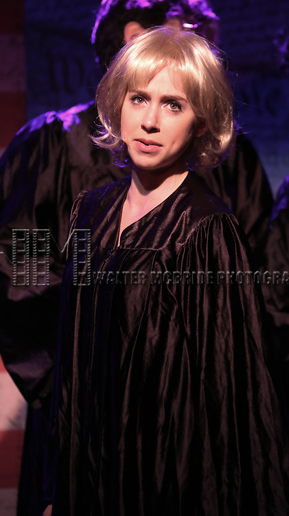 Mia Weinberger perform onstage during the 'ME THE PEOPLE: The Trump America Musical' Press Preview Presentation at The Triad Theater on June 21, 2017 in New York City.