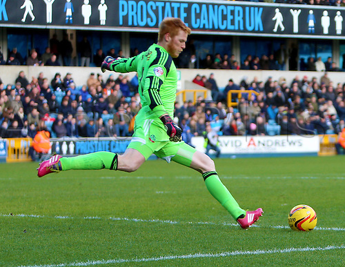 15.02.2014 London, England. Adam BOGDAN during the Championship game between Millwall and Bolton Wanderers from The New Den.