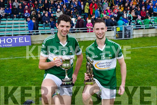Double celebtration as Listry's captain Jimmy O'Leary and Man of the Match Joe Clifford proudly display the silverware.