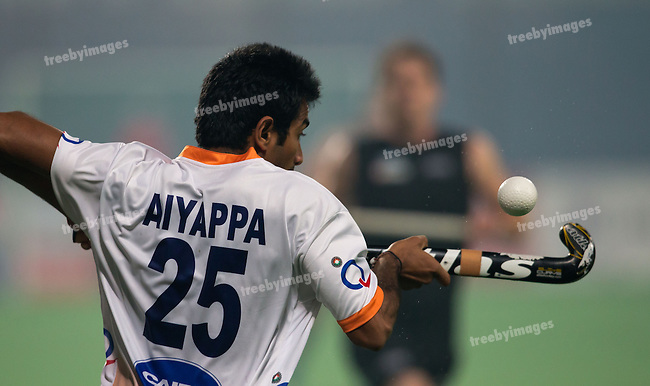 Mens Hockey World league Final Delhi 2014<br /> Day 2 India v New Zealand11-01-2014<br /> M B Aiyappa<br /> <br /> Photo: Grant Treeby / treebyimages