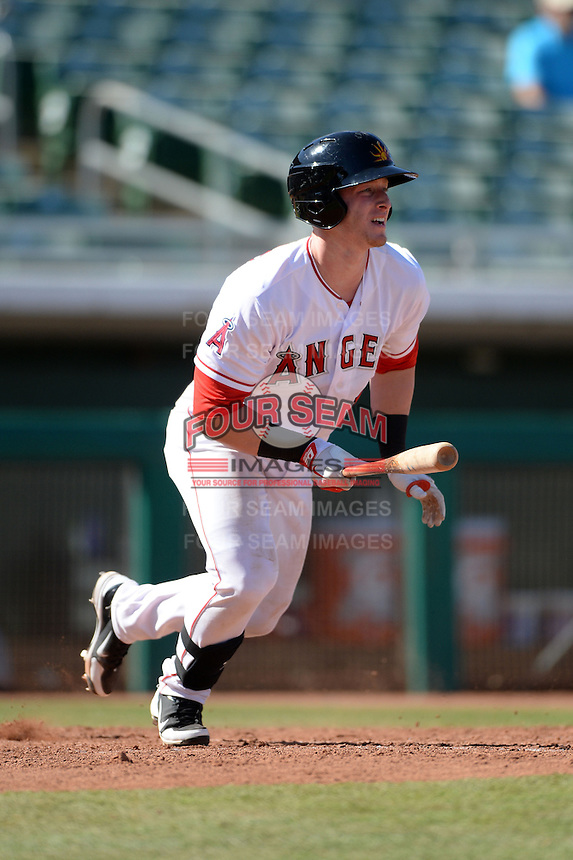 Mesa Solar Sox outfielder Zach Borenstein (12), of the Los Angeles Angels of Anaheim organization, during an Arizona Fall League game against the Scottsdale Scorpions on October 15, 2013 at HoHoKam Park in Mesa, Arizona.  Mesa defeated Scottsdale 7-4.  (Mike Janes/Four Seam Images)