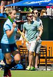 NIJMEGEN -   coach Matthijs Brouwer (Nijm.) met assists coach Ruben Mulder (Nijm.)  tijdens  de tweede play-off wedstrijd dames, Nijmegen-Huizen (1-4), voor promotie naar de hoofdklasse.. Huizen promoveert naar de hoofdklasse.  COPYRIGHT KOEN SUYK
