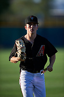 AZL D-backs left fielder Corbin Carroll (2) jogs off the field between innings of an Arizona League game against the AZL Mariners on July 3, 2019 at Salt River Fields at Talking Stick in Scottsdale, Arizona. The AZL D-backs defeated the AZL Mariners 3-1. (Zachary Lucy/Four Seam Images)