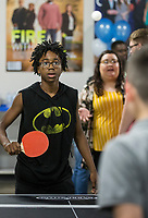 NWA Democrat-Gazette/BEN GOFF @NWABENGOFF<br /> Karmeneo Stephens (facing) plays table tennis with Eric Martinez, both teens who attend the club, Thursday, June 6, 2019, during a grand opening for the new Teen Center across the street from the Boys & Girls Club in Rogers.