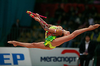 "Evgenia Kanaeva of Russia split leaps at 2008 World Cup Kiev, ""Deriugina Cup"" in Kiev, Ukraine on March 23, 2008."