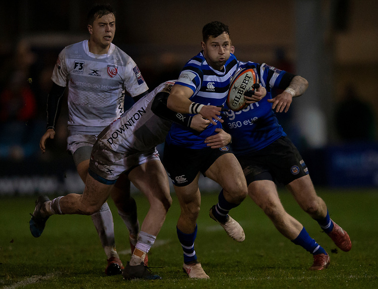 Bath Rugby's Max Green in action during todays match<br /> <br /> Photographer Bob Bradford/CameraSport<br /> <br /> Gallagher Premiership - Bath Rugby v Gloucester Rugby - Monday 4th February 2019 - The Recreation Ground - Bath<br /> <br /> World Copyright © 2019 CameraSport. All rights reserved. 43 Linden Ave. Countesthorpe. Leicester. England. LE8 5PG - Tel: +44 (0) 116 277 4147 - admin@camerasport.com - www.camerasport.com