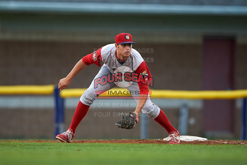 Williamsport Crosscutters first baseman Brendon Hayden (43) during a game against the Batavia Muckdogs on August 27, 2015 at Dwyer Stadium in Batavia, New York.  Batavia defeated Williamsport 3-2.  (Mike Janes/Four Seam Images)