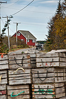 Lobster storage bins, Jonesport, Maine, USA