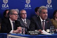 Washington, DC - April 17, 2019: Ecuador President Lenin Moreno and OAS Secretary General Luis Almagro meet at Organization of America States (OAS) April 17, 2019.  (Photo by Lenin Nolly/Media Images International)
