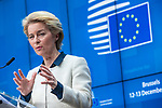 BRUSSELS - BELGIUM - 13 December 2019 -- EU-Summit with Heads of State - European Council meeting - Presidency of Finland. -- Ursula von Der Leyen, President of the European Commission during the press conference  -- PHOTO: Juha ROININEN / EUP-IMAGES
