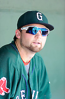 First baseman Sam Travis (28) of the Greenville Drive in a game against the Rome Braves on Sunday, August 3, 2014, at Fluor Field at the West End in Greenville, South Carolina. Travis is a second-round pick of the Boston Red Sox in the 2014 First-Year Player Draft out of Indiana University. Rome won, 4-2. (Tom Priddy/Four Seam Images)