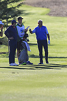 Rory and Gerry McIlroy (NIR) on the 1st hole during Thursday's Round 1 of the 2018 AT&amp;T Pebble Beach Pro-Am, held over 3 courses Pebble Beach, Spyglass Hill and Monterey, California, USA. 8th February 2018.<br /> Picture: Eoin Clarke | Golffile<br /> <br /> <br /> All photos usage must carry mandatory copyright credit (&copy; Golffile | Eoin Clarke)