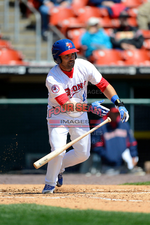 Buffalo Bisons catcher Mike Nickeas #11 during the first game of a doubleheader against the Pawtucket Red Sox on April 25, 2013 at Coca-Cola Field in Buffalo, New York.  Pawtucket defeated Buffalo 8-3.  (Mike Janes/Four Seam Images)