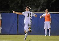 Florida International University men's soccer player Sebastian Frings (11) celebrates his goal against Nova University on August 26, 2011 at Miami, Florida. FIU won the game 2-0. .