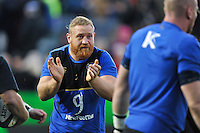 Ross Batty of Bath Rugby shouts out encouragement during the pre-match warm-up. European Rugby Champions Cup match, between Bath Rugby and Wasps on December 19, 2015 at the Recreation Ground in Bath, England. Photo by: Patrick Khachfe / Onside Images