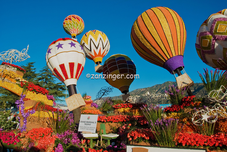 """New Mexico, """"Enchantment in the Air"""" colorful, hot air, balloons, Rose Float 2010"""