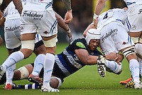 Dave Attwood of Bath Rugby tackled Mitch Lees of Exeter Chiefs. West Country Challenge Cup match, between Bath Rugby and Exeter Chiefs on October 10, 2015 at the Recreation Ground in Bath, England. Photo by: Patrick Khachfe / Onside Images