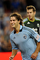Graham Zusi (8) midfielder Sporting KC turns after scoring his second goal... Sporting Kansas City defeated Portland Timbers 3-1 at LIVESTRONG Sporting Park, Kansas City, Kansas.