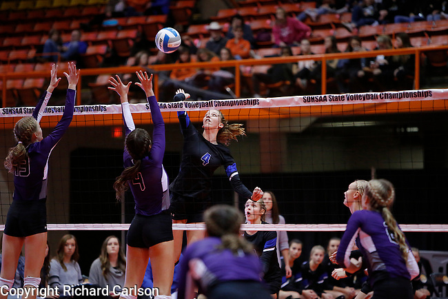 November 22, 2019; Rapid City, SD, USA; Brooklyn Pater #4 of Sioux Falls Christian vs Dakota Valley at the 2019 South Dakota State Volleyball Championships at the Rushmore Plaza Civic Center in Rapid City, S.D. (Richard Carlson/Inertia)