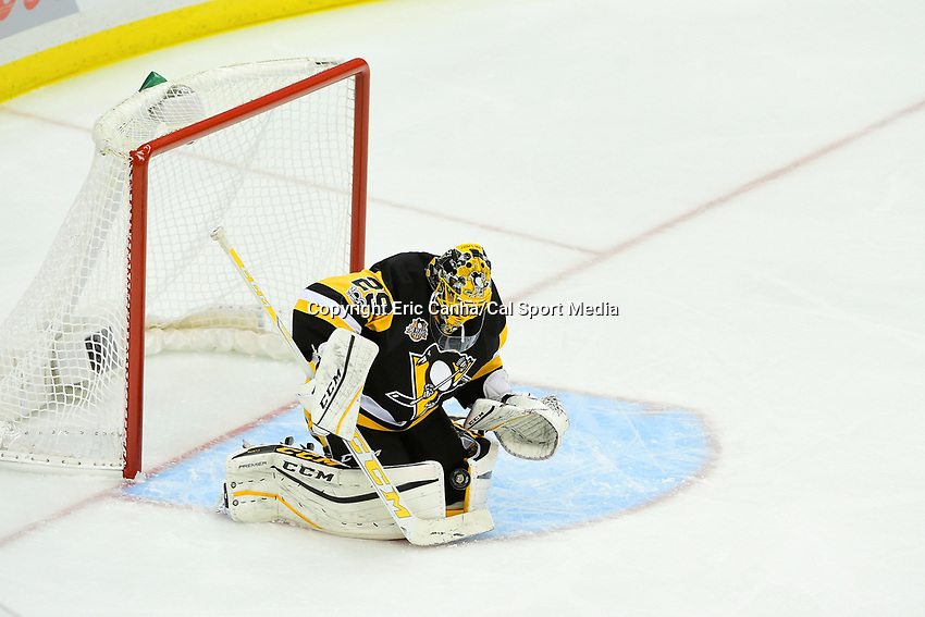 Wednesday, April 12, 2017: Pittsburgh Penguins goalie Marc-Andre Fleury (29) makes a save during game 1 of round one of the National Hockey League Eastern Conference Stanley Cup Playoffs between the Columbus Blue Jackets and the Pittsburgh Penguins, held at PPG Paints Arena, in Pittsburgh, PA.  Pittsburgh defeats Columbus 3-1. Eric Canha/CSM