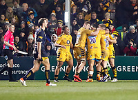 25th January 2020; Sixways Stadium, Worcester, Worcestershire, England; Premiership Rugby, Worcester Warriors versus Wasps; Wasps players celebrate Dan Robson (cc) scoring a try in the 71st minute to lead 30-26 after the conversion