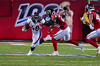 Ohio, Canton - August 1, 2019: Denver Broncos running back Devontae Jackson #48  is pursued by Atlanta Falcons defensive back Kendall Sheffield #20 during a pre-season game at the Tom Benson stadium in Canton, Ohio August 1, 2019. This game marks start of the 100th season of the NFL. (Photo by Don Baxter/Media Images International)