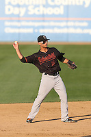 Tim Lopes (5) of the Bakersfield Blaze makes a throw during a game against the Rancho Cucamonga Quakes at LoanMart Field on June 1, 2015 in Rancho Cucamonga, California. Rancho Cucamonga defeated Bakersfield, 5-2. (Larry Goren/Four Seam Images)