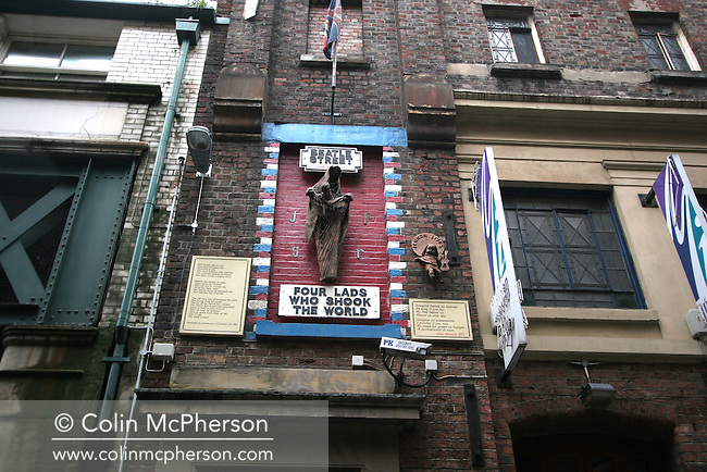 A wall-mounted sculpture in the city's Cavern Quarter which pays tribute to the Beatles on Mathew Street.