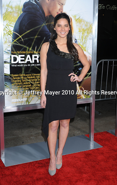 "HOLLYWOOD, CA. - February 01: Olivia Munn arrives at the ""Dear John"" World Premiere held at Grauman's Chinese Theatre on February 1, 2010 in Hollywood, California."