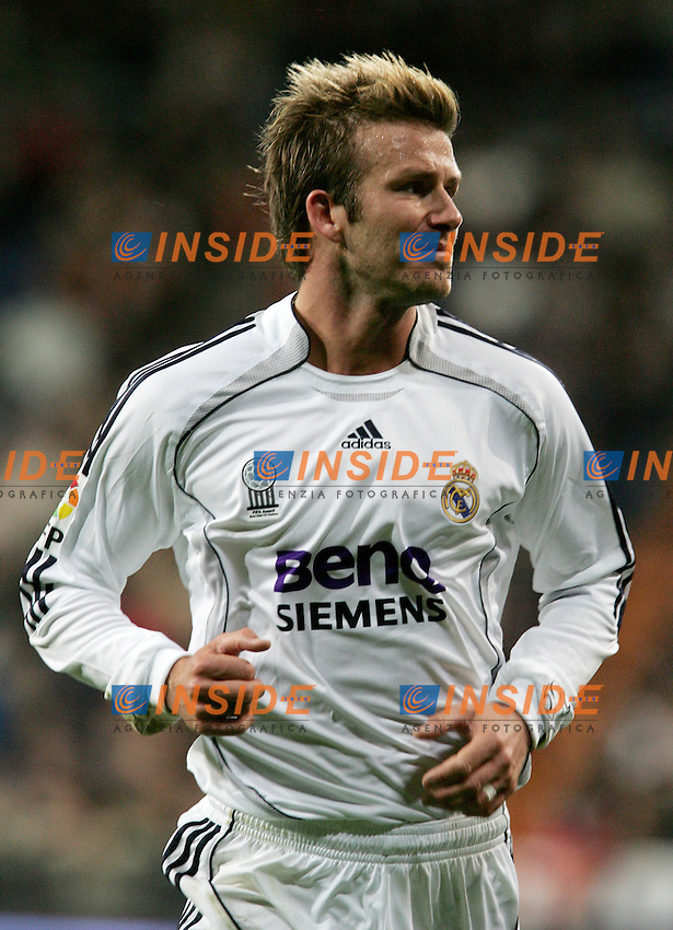 Real Madrid's David Beckham reacts during Spain's La Liga match at Santiago Bernabeu stadium in Madrid, Saturday February 17, 2007. (INSIDE/ALTERPHOTOS/Alvaro Hernandez).