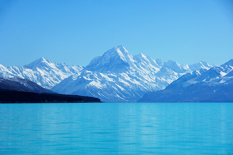 Aoraki / Mount Cook and Lake Pukaki, sunny day, South Island, New Zealand - stock photo, canvas, fine art print