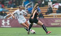 Newton, Massachusetts - September 3, 2017: NCAA Division I. Boston College (white) defeated Northeastern University, 2-1, at Newton Campus Soccer Field.