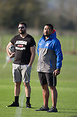 Ardmore Marist coaches Glen Rowe and  Saua Leaupepetele. Counties Manukau Premier Club Rugby game between Ardmore Marist and Weymouth, played at Bruce Pulman Park on May 14th 2016. Ardmore Marist won the game 43 - 7 after leading 17 - 0 at halftime. Photo by Richard Spranger.