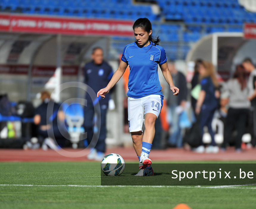 20131026 - LIVADIA , GREECE : Greek Anastasia Papadopoulou pictured during the female soccer match between Greece and Belgium , on the third matchday in group 5 of the UEFA qualifying round to the FIFA Women World Cup in Canada 2015 at the Levadia Municipal Stadium , Livadia . Saturday 26th October 2013. PHOTO DAVID CATRY