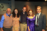 """Steven Austin Young, Laura Margolis (artistic director and went to school with Collen), Associate Writer As The World Turns Hal Corley (also AMC) and Michael Rhodes pose with Colleen Zenk - As The World Turns - star in Looped - about Tallulah Bankhead - original premiere - at Stageworks/Hudson Theater Outside The Box on July 14, 2013 running until July 28 -  """"All he needed was one line . . . All Tallulah needed was eight hours . . .""""  (Photo by Sue Coflin/Max Photos)"""