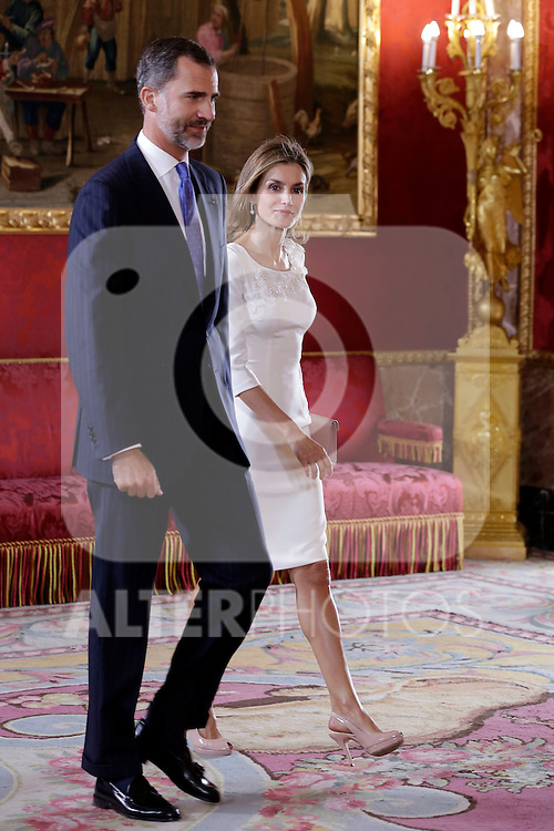 Spanish Royals recived to Panama President Juan Carlos Varela and his wife Mss Cartillo de Varela at Royall Palace in Madrid in Madrid. September 08, 2014. (ALTERPHOTOS/POOL/ANTONIO GUTIERREZ)