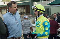 ARCADIA, CA   FEBRUARY 3 : Jockey Flavien Prat receives congratulations from Jeffrey Lewis, son of Robert B. Lewis after winning the Robert B. Lewis Stakes (Grade lll) on February 3, 2018 at Santa Anita Park in Arcadia, CA.(Photo by Casey Phillips/ Eclipse Sortswire/ Getty Images)