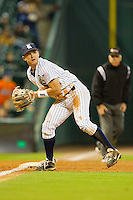 Third baseman Shane Hoelscher #2 of the Rice Owls fields a ground ball against the Texas A&M Aggies at Minute Maid Park on March 5, 2011 in Houston, Texas.  Photo by Brian Westerholt / Four Seam Images