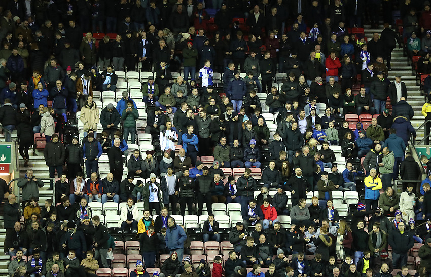 Blackburn Rovers' Fans at the start of today's match<br /> <br /> Photographer Rachel Holborn/CameraSport<br /> <br /> The EFL Sky Bet Championship - Wigan Athletic v Blackburn Rovers - Wednesday 28th November 2018 - DW Stadium - Wigan<br /> <br /> World Copyright © 2018 CameraSport. All rights reserved. 43 Linden Ave. Countesthorpe. Leicester. England. LE8 5PG - Tel: +44 (0) 116 277 4147 - admin@camerasport.com - www.camerasport.com
