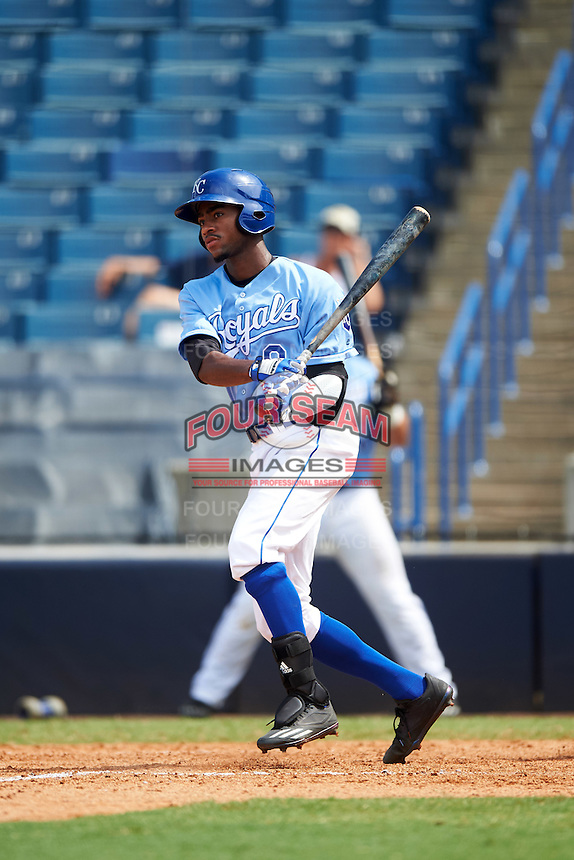 Jordon Adell (8) of Ballard High School in Prospect, Kentucky playing for the Kansas City Royals scout team during the East Coast Pro Showcase on August 3, 2016 at George M. Steinbrenner Field in Tampa, Florida.  (Mike Janes/Four Seam Images)