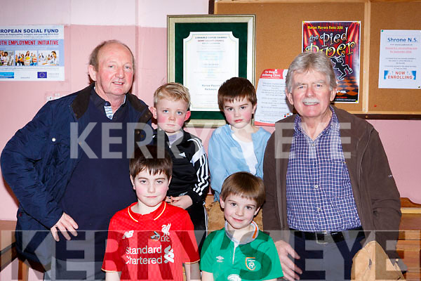Enjoying The Pied Piper Panto  in Rathmore on Sunday were l-r: Tim and Jay O'Donoghue, Conor and Charlie Forde, Patrick Burke and Anthony Forde a