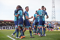 Luke O'Nien of Wycombe Wanderers & teammates dlebrate the teams victory during the Sky Bet League 2 match between Grimsby Town and Wycombe Wanderers at Blundell Park, Cleethorpes, England on 4 March 2017. Photo by Andy Rowland / PRiME Media Images.