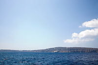 View of the caldera sailing south in Santorini, Greece on July 5, 2013.
