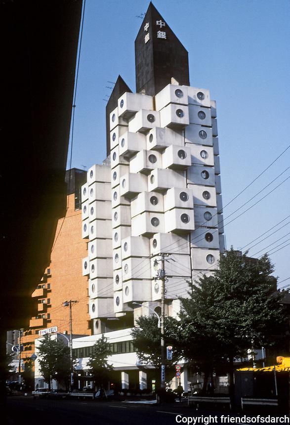 Tokyo: Nakagin Capsule Tower, 1971. Kisho Kurakowa, architect. Japanese Metabolism style. Residential and office tower. Photo '81.