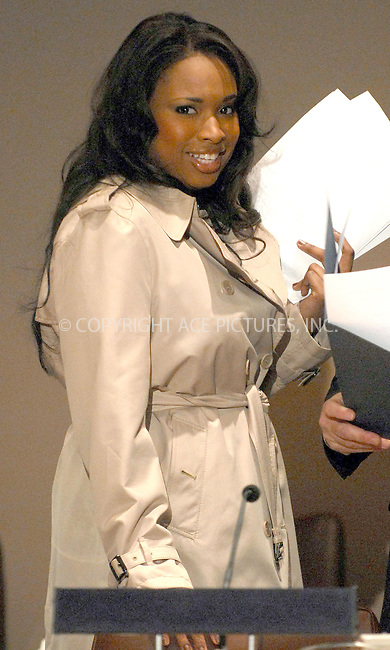 WWW.ACEPIXS.COM . . . . . ....March 7 2007, New York....Academy Award winner Jennifer Hudson appeared at the 'Global Summit for a Better Tomorrow' symposium hosted by the Virtue Foundation at the United Nations building in Manhattan. ....Please byline: KRISTIN CALLAHAN - ACEPIXS.COM.. . . . . . ..Ace Pictures, Inc:  ..(646) 769 0430..e-mail: info@acepixs.com..web: http://www.acepixs.com