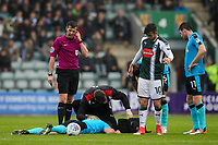 Fleetwood Town's  Kyle Dempsey lies injured after a collision<br /> <br /> Photographer Andrew Kearns/CameraSport<br /> <br /> The EFL Sky Bet League One - Plymouth Argyle v Fleetwood Town - Saturday 7th October 2017 - Home Park - Plymouth<br /> <br /> World Copyright &copy; 2017 CameraSport. All rights reserved. 43 Linden Ave. Countesthorpe. Leicester. England. LE8 5PG - Tel: +44 (0) 116 277 4147 - admin@camerasport.com - www.camerasport.com