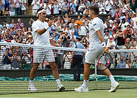 Roger Federer of Switzerland celebrates his victory over Dusan Lajovic of Serbia in their Men's Singles Second Round Match today - Federer def Lajovic 7-6, 6-3, 6-2<br /> <br /> Photographer Ashley Western/CameraSport<br /> <br /> Wimbledon Lawn Tennis Championships - Day 4 - Thursday 6th July 2017 -  All England Lawn Tennis and Croquet Club - Wimbledon - London - England<br /> <br /> World Copyright &not;&uml;&not;&copy; 2017 CameraSport. All rights reserved. 43 Linden Ave. Countesthorpe. Leicester. England. LE8 5PG - Tel: +44 (0) 116 277 4147 - admin@camerasport.com - www.camerasport.com