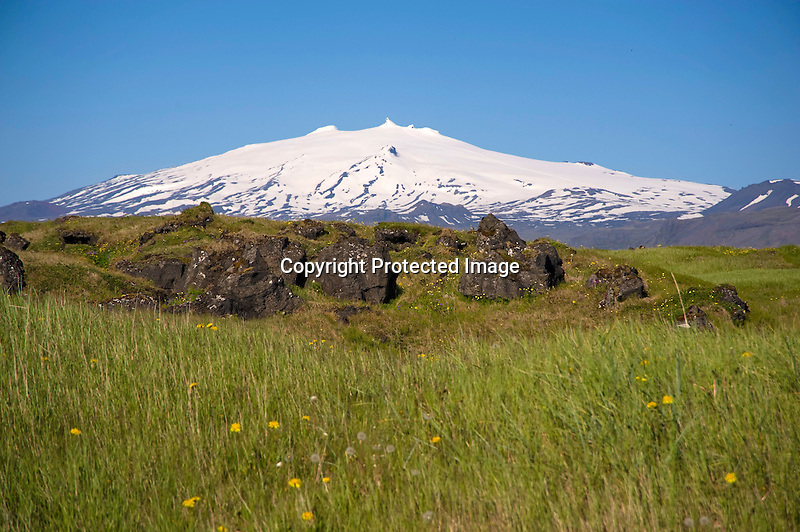 View of Snaefellsjokull Glacier and Lava Field in Former Fishing Village of Budir in West Iceland